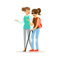 Smiling female volunteer helping and supporting blind woman, healthcare assistance and accessibility colorful vector