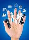 Smiling finger for symbol of business social network in all media Stock Image