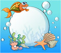 A smiling fish and the big pearl under the sea illustration of Royalty Free Stock Image