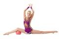 Smiling flexible girl doing split free callisthenics isolated on white Royalty Free Stock Photo