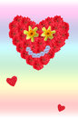 Smiling flower heart on background in rainbow colors, love card