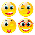 Smiling four vector balls Royalty Free Stock Photos