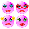 Smiling four vector balls. Pink girls Royalty Free Stock Photos