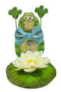Smiling frog figure and a water lily isolated on white background Royalty Free Stock Photo