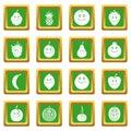 Smiling fruit icons set green