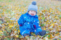 Smiling funny baby boy sitting on yellow leaves in autumn age of year Stock Photography