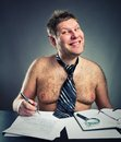 Smiling funny businessman work shirtless Royalty Free Stock Image