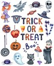 Smiling and funny Halloween watercolor illustrations set