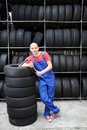 Smiling garage worker Royalty Free Stock Photo