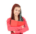 Smiling girl with african plaits keeping book Stock Photos