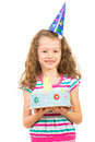 Smiling girl with birthday cake beauty made five years age isolated on white background Stock Photo