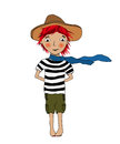 Smiling girl character simling little with hat and blue scarf Royalty Free Stock Photo