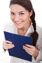 Smiling girl with the clipboard Stock Photo