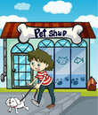 A smiling girl with dog and a pet shop illustration of Stock Photos