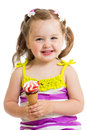Smiling girl eating ice cream isolated Royalty Free Stock Photo