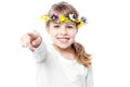 Smiling girl with flower crown attractive child in pointing at you Royalty Free Stock Image