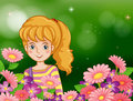 A smiling girl at the garden with fresh flowers illustration of Stock Photo