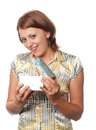 Smiling girl with gift Stock Photography