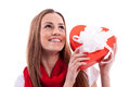 Smiling girl with gift heart Stock Images