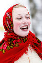 Smiling girl in kerchief Stock Photo