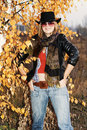 Smiling girl over autumnal background Royalty Free Stock Photo