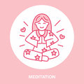 Smiling girl in padmasana, yoga line logo. Icon of woman meditation, relaxation and love energy. Vector illustration for
