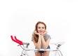 Smiling girl posing on bicycle