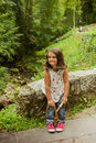 Smiling girl posing at the lakes in Covadonga, Asturias Royalty Free Stock Photo