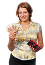Smiling girl with a purse and money in hands Stock Photos