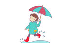 A smiling girl runs under the rain Stock Images