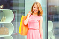 Smiling girl with shopping bags background windows Stock Photography
