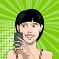 Smiling girl with smartphone in hand takes a selfie in comic style