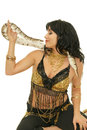 Smiling girl with snake picture of belly dancer python on face on white background Royalty Free Stock Photos