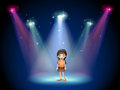 A smiling girl standing on the stage with spotlights illustration of Royalty Free Stock Image