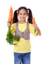 Smiling girl with two carrots Royalty Free Stock Photo