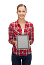 Smiling girl with tablet pc with blank scneen technology internet advertisement and people concept computer Stock Photography