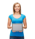 Smiling girl with tablet pc computer technology internet advertisement and people concept blank scneen Royalty Free Stock Images