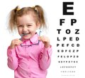 Smiling girl took off glasses with blurry eye Royalty Free Stock Photo