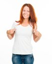 Smiling girl white t shirt isolated Royalty Free Stock Photography