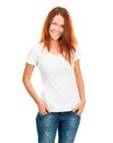 Smiling girl white t shirt isolated Stock Images