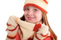 Smiling girl in winter clothes young with pigtails Stock Photo