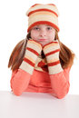Smiling girl in winter clothes young with pigtails Royalty Free Stock Photos