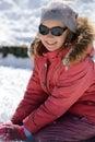 Smiling girl at winter vacation Stock Photos