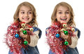 Smiling girls with beautiful christmas decorations collage little girl in hands isolated on white Stock Images