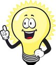 A smiling glowing bulb Royalty Free Stock Images
