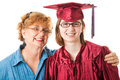 Smiling graduate and mother high school her proud white background Royalty Free Stock Photos