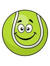 Smiling green cartoon tennis ball with a cute little face isolated on white for sports design Stock Photo