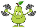 Smiling Green Pear Fruit With Leaf Cartoon Mascot Character Working Out With Dumbbells