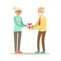 Smiling grey senior giving gift box to beautiful senior woman colorful characters vector Illustration