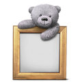 Smiling grey teddy bear with golden border frame template Royalty Free Stock Photo